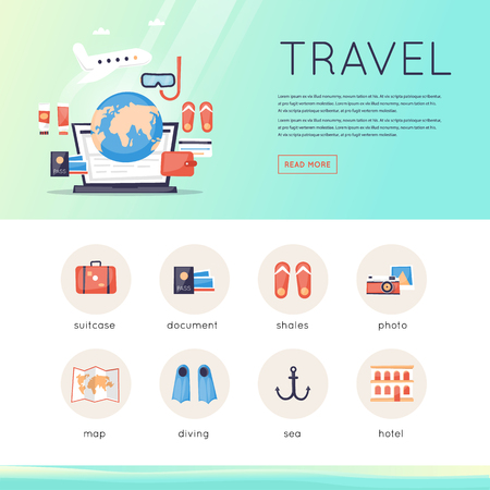 website template: Travel to World. Trip plan. Website template header. Planning a summer vacation, tourism and journey.  Summer travel. Flat vector web banners.