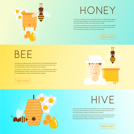 beehive: Beekeeper man in hat and tools for beekeeping. Wooden beehives, flowers, smoker, honeycomb, honey jar with dipper. Banners. Vector illustration and flat icons.