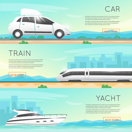 trip: Travel by car, boat, train. Travel to World. Trip plan. Planning a summer vacation, tourism and journey. Summer travel. Flat vector web banners.