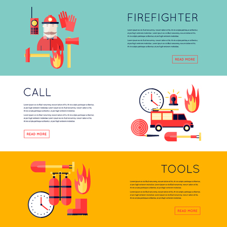 Firefighter, fire, call the fire brigade, fire extinguishing, firefighting tools. Fire truck with alarm signal . Horizontal banners. Flat style vector illustration. Vettoriali