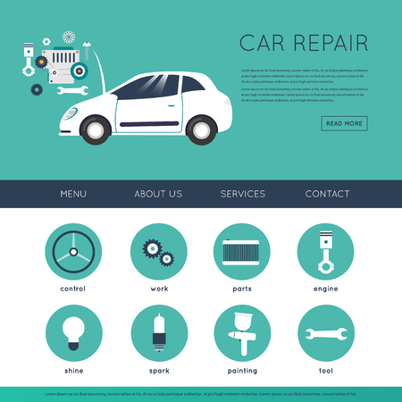 car tire: Car service. Auto mechanic repair of machines and equipment. Car diagnostics. Engine repair, painting, tire, suspension repairs. Website template header. Banner. Vector illustration and flat icons.