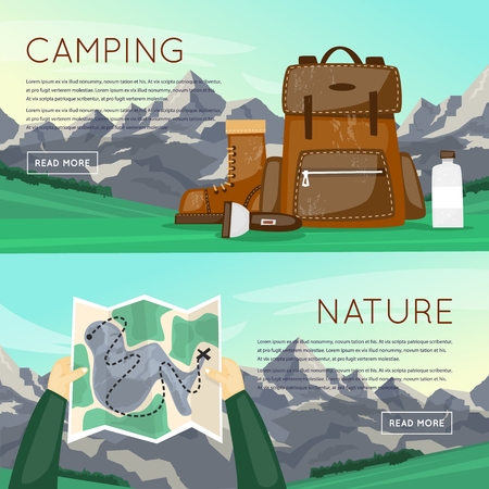 outdoor activities: Outdoor activities. Summer adventure. Mountains background, hiking equipment, camping, adventures in nature, sports. Banners. Vector illustration and flat icons. Illustration