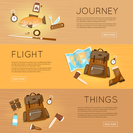 outdoor activities: Outdoor activities. Summer adventure. Mountain, hiking equipment, camping. Fishing. Banners. Vector illustration and flat icons. Illustration