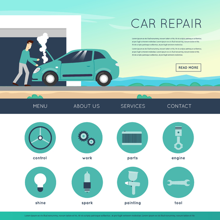 car engine: Car service. Auto mechanic repair of machines and equipment. Car diagnostics. Engine repair, painting, tire, suspension repairs. Website template header. Banner. Vector illustration and flat icons.