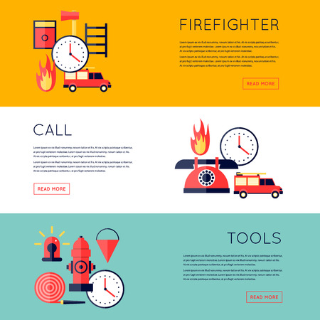 fire extinguishing: Firefighter, fire, call the fire brigade, fire extinguishing, firefighting tools. Fire truck with alarm signal . Horizontal banners. Flat style vector illustration. Illustration