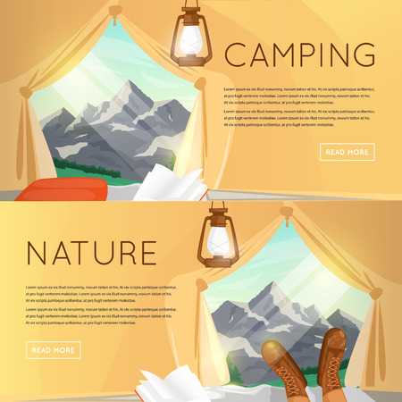 mountain view: Outdoor activities. Summer adventure. Mountain View from the tent. Mountains background, hiking equipment, camping, adventures in nature, sports. Banners. Vector illustration and flat icons.
