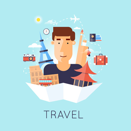 World Travel, tourism and journey, traveling on airplane set of icons. USA, Japan, France, England, Italy. World Travel. Planning summer vacations. Summer holiday. Flat design vector illustration.