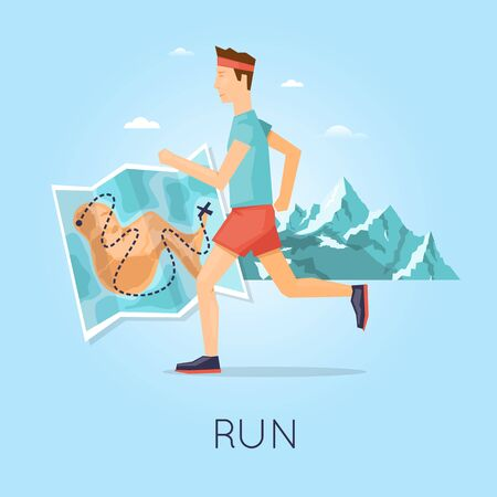 fatso: Man jogging on a background of mountains, sport, healthy lifestyle, jogging, fitness. Flat design vector illustration.