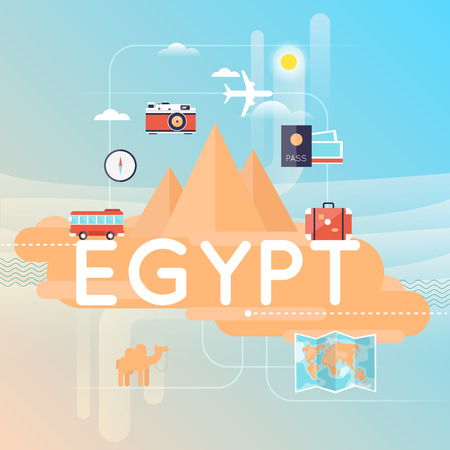vacation map: Travel to Egypt. World Travel. Planning summer vacations. Summer holiday. Tourism and vacation theme. Flat design vector