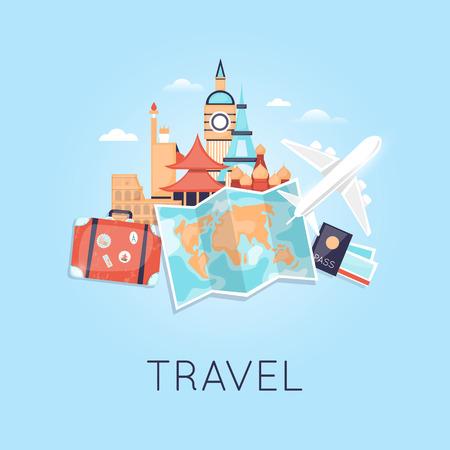 Ravel met het vliegtuig Rusland, de VS, Japan, Frankrijk, Engeland, Italië. Wereldreis. De planning van de zomervakanties. Zomervakantie. Toerisme en vakantie thema. Plat ontwerp vector Vector Illustratie
