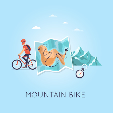 mountain biking: Mountain biking, sports, leisure, healthy lifestyle. Bicyclist with backpack riding a bike on mountain background and map. Flat design vector illustration.