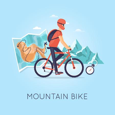 ciclista: El ciclismo de montaña, deportes, ocio, estilo de vida saludable. Ciclista con mochila andar en bicicleta de montaña en el fondo y el mapa. ilustración vectorial diseño plano. Vectores
