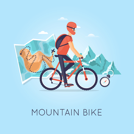 leisure: Mountain biking, sports, leisure, healthy lifestyle. Bicyclist with backpack riding a bike on mountain background and map. Flat design vector illustration.