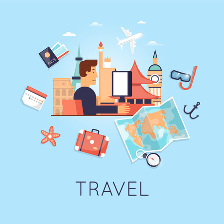 internet search: Travel the world. Search tour to the Internet, summer holiday, travel suitcase, summer vacation, time to travel, travel-ling on holiday journey. character design. Vector illustration flat design.
