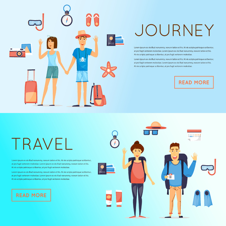 couple in summer: World Travel, summer vacation, tourism and journey, couple travels and set of icons. Flat design vector.