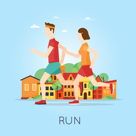 Couple jogging on the background of the city, sport, healthy lifestyle, jogging, fitness. Flat design vector illustration.