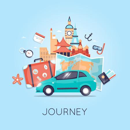 자동차 러시아, 미국, 일본, 프랑스, 잉글랜드, 이탈리아로 여행. 세계 여행. 여름 휴가 계획. 여름 휴가. 관광 및 휴가 테마입니다. 플랫 디자인 벡터