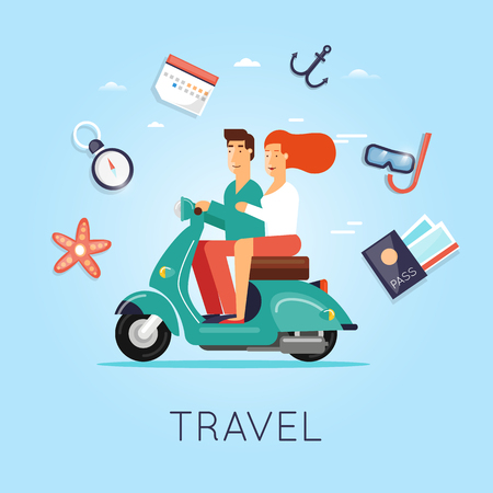 moped: Man and woman traveling on a moped. Summer, World Travel, summer vacation, tourism and journey, couple travels. Flat design vector illustration.
