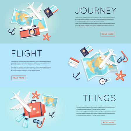 путешествие: Путешествие в мир. План поездки. Планирование летние каникулы, туризм и путешествия. Летние путешествия. Карта и набор вещей для путешествия вид сверху. Перелет на самолете. Плоский вектор веб-баннеры. Иллюстрация