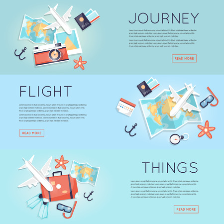 Travel to World. Trip plan. Planning a summer vacation, tourism and journey. Summer travel. Map and a set of things for travel top view. Hop on a plane. Flat vector web banners. Çizim