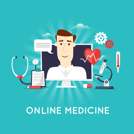 medical treatment: On-line medical, Health care and medical, diagnosis and treatment. On-line doctor. Flat design vector illustration. Illustration