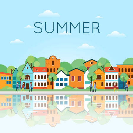 water town: Summer Old city landscape with reflection in the water. Colorful Houses and Canal. Old Town, old Europe, trip to Europe, Holland. Summer holiday. Tourism and vacation. Flat design vector illustration.