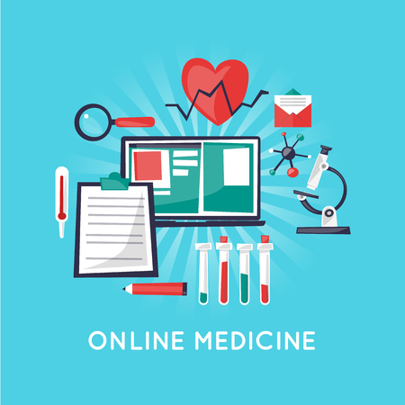 diagnosis: On-line medical, Health care and medical, diagnosis and treatment. Flat design vector illustration. Illustration