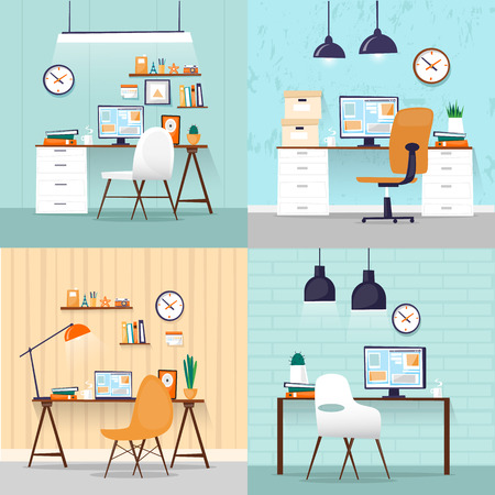 Office interior with designer desktop, business workspace in the office. Workplace. Flat design vector illustration. Banners. Stock Illustratie
