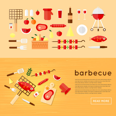 grill meat: Barbecue set of flat Icons. BBQ. Wooden table eating barbecue top view fish, sausage, meat. Summer picnic grill party. Flat design vector illustration.