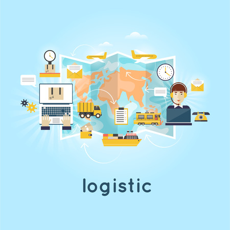 freight transportation: Logistic global transportation delivery. Cargo Transportation. Warehouse, Freight. Operator controls the traffic around the world people send parcels. Flat design. Illustration