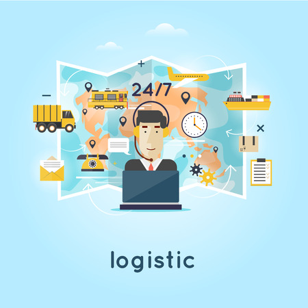 parcels: Logistic global transportation delivery. Cargo Transportation. Warehouse, Freight. Operator controls the traffic around the world people send parcels. Flat design. Illustration
