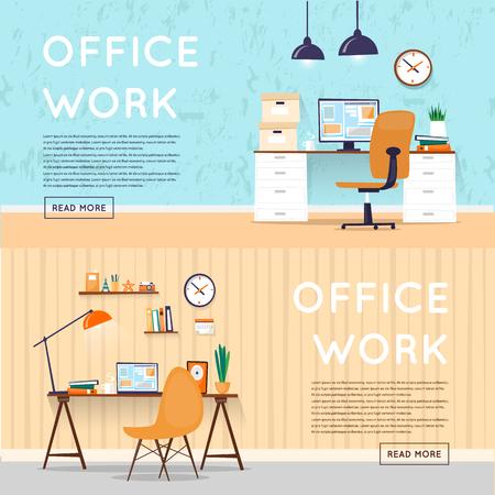 事務所でデザイナーのデスクトップ、ビジネスのワークスペースでオフィスのインテリア。職場。フラットなデザインのベクトル図です。バナー。