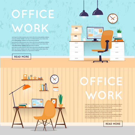 Office interior with designer desktop, business workspace in the office. Workplace. Flat design vector illustration. Banners. Иллюстрация
