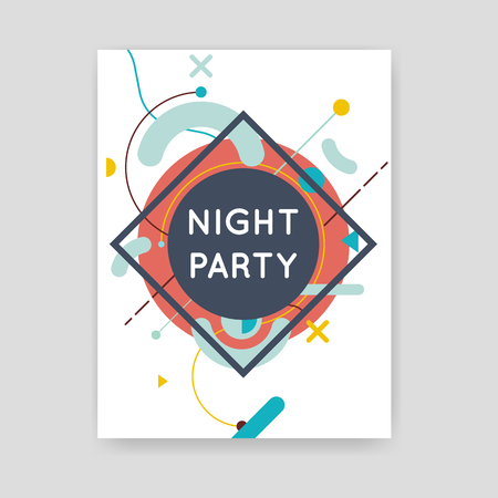 night background: Brochures with geometric elements. Summer party. Hipster. Night party. Abstract Modern Background. Poster, flyer, business card, background, banner.