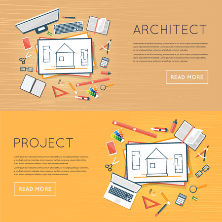project plan: Construction planning process flat design. Architects workplace. Architecture planning on paper top view. Architectural project, architectural plan, technical project. Engineering for building houses.