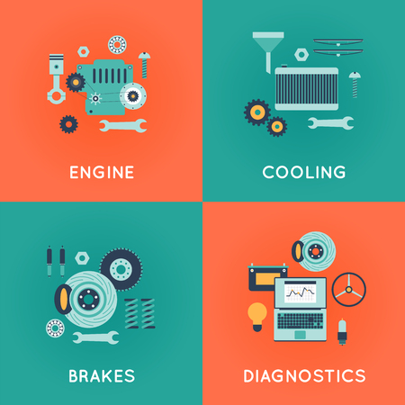 auto service: Car service. Auto mechanic repair of machines and equipment. Car diagnostics. Engine repair, painting, tire, suspension repairs. Illustration