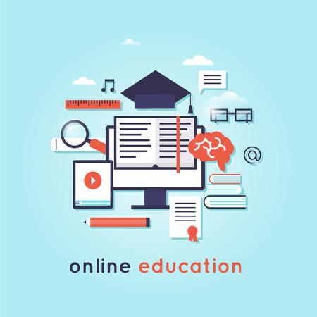 computer language: On-line Training Courses. Foreign language education online, internet lessons, language school. Illustration