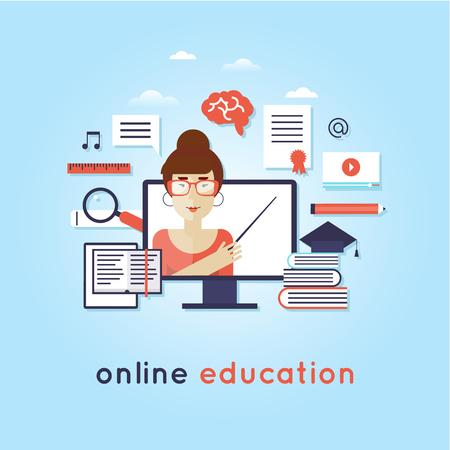 languages: En línea cursos de formación. idioma extranjero la educación en línea, lecciones de Internet, escuela de idiomas. Inglés. Vectores
