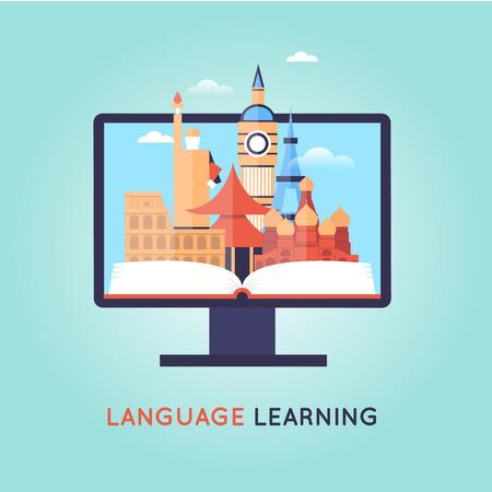 idiomas: En línea cursos de formación. idioma extranjero la educación en línea, lecciones de Internet, escuela de idiomas. Inglés. Vectores