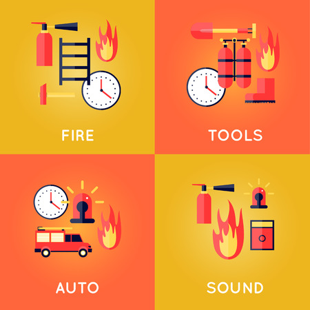 firefighting: Firefighter, fire, call the fire brigade, fire extinguishing, firefighting tools. Fire truck with alarm signal.