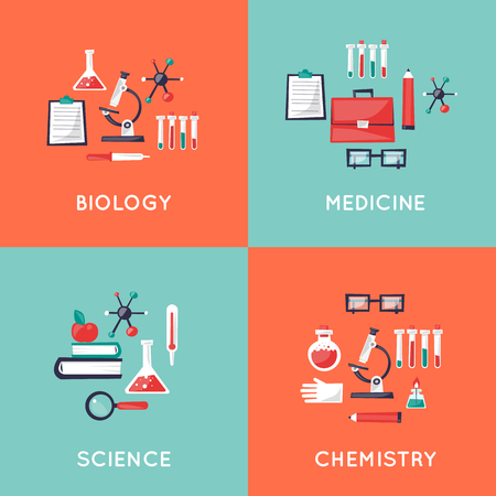 medical laboratory: Education, scientist, science, laboratory, experiments, research, discovery. Chemistry, physics, biology. School. Health care and medical, medicine. Illustration