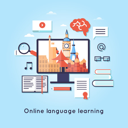 languages: On-line Training Courses. Foreign language education online, internet lessons, language school. Illustration