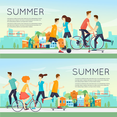 outdoor sports: Physical activity people engaged in outdoor sports, running, cycling, skateboarding, roller skating, summer. Flat design vector illustration. Banners. Illustration