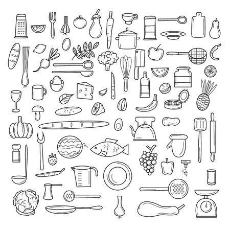 Keukengereedschap, fruit, groenten, dunne lijn, het koken, keukengerei en bestek. Iconen set.