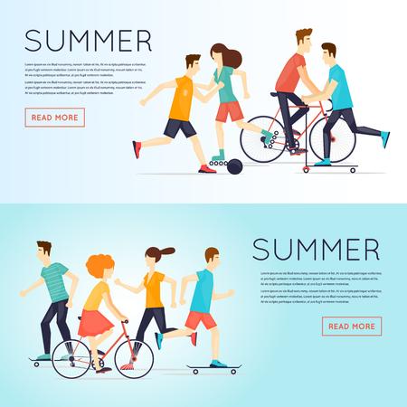 teen golf: las personas físicas dedicadas a la actividad deportiva al aire libre, correr, andar en bicicleta, skate, patinaje sobre ruedas, verano. ilustración vectorial diseño plano. Banners.