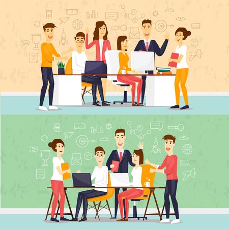 コワーキング人、ビジネス会議、チームワーク、ビジネス、コラボレーション、討議、会議テーブルを囲んで会議についてブレーンストーミングを行います。フラットなデザインのベクトル図です。