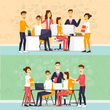 Coworking people, business meeting, teamwork, business, collaboration and discussion, meeting around a conference table, brainstorm. Flat design vector illustration.