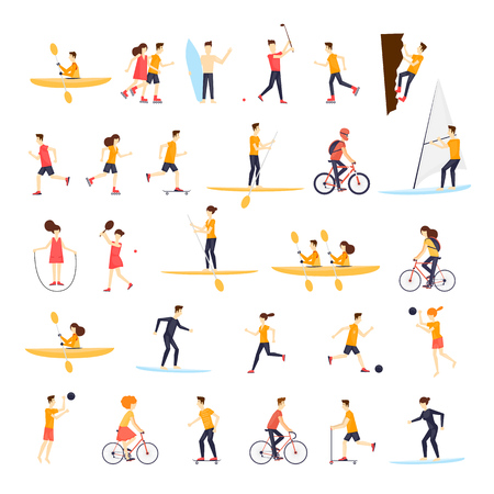 actividad fisica: las personas físicas dedicadas a la actividad deportiva al aire libre, correr, andar en bicicleta, skate, patinaje sobre ruedas, kayaks, tenis, vela, surf, verano. ilustración vectorial diseño plano.