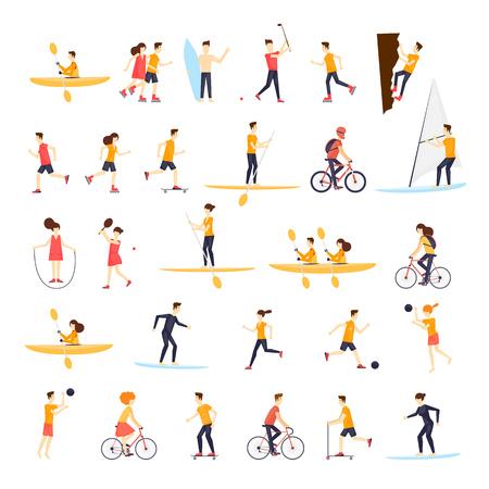 persone di attività fisica impegnati in sport all'aria aperta, correre, andare in bicicletta, skateboard, pattinaggio, kayak, tennis, vela, surf, estate. Piatto illustrazione disegno vettoriale.