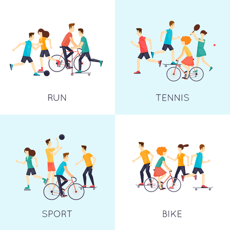 sports activity: Physical activity people engaged in outdoor sports, running, cycling, skateboarding, roller skating, kayaks, tennis, sailing, surfing, summer. Flat design vector illustration.